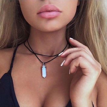 New Fashion Charm Chain Stone Necklace Choker Leather Crystal Pendant Double Layers Multilayer Necklace Women Vintage Jewelry Accessories Gifts Gift 111901