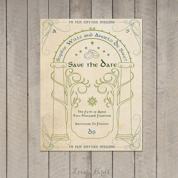 Wedding invitation Set The Hobbit - Save the Date, Invitation, RSVP - Digital file