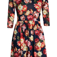 Sophia Floral 3/4 Sleeve Skater Dress