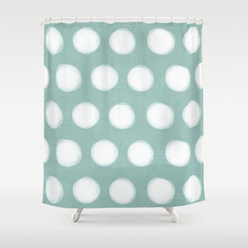 painted polka dots - robins egg blue Shower Curtain by Her Art