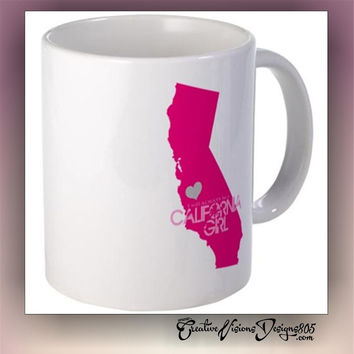 California Girl with heart on hometown - coffee mug - girly coffee mug - cute mug - coffee cup - state coffee mug - custom mug