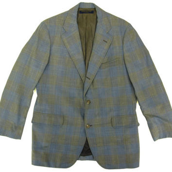 Brooks Brothers Plaid Sport Coat - Blazer, Jacket, Light Blue, Tan, Ivy League Menswear - Men's Size 43 Large Lrg L