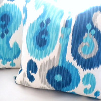 Decorative Indoor/Outdoor Ikat blue aqua grey toss pillow cover, fabric both sides, 16 x 16 to 20 x 20 available