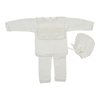 Antonella Kids Ivory Removable Silk Bib Knit Set