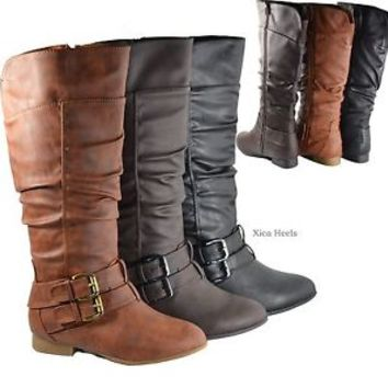Womens Knee High Riding Boots Ruched Buckle Flat Boot Faux Leather New Size 6-10