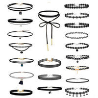 20Pcs Black Velvet Chocker Necklace-03322