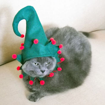 Pet Costume - Elf Costume - Green - Small - Christmas Costume Cat Costume