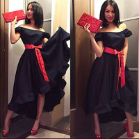 2016 Robe Summer Dress For Women Black Sexy Off Shouler Short Sleeve Ruffles  Maxi Dress Long Dresses With Sashes Bow  Vestidos