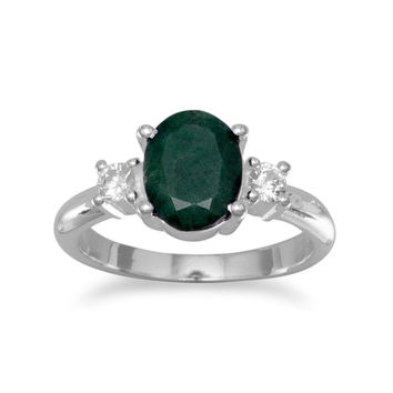 "Rough-Cut Oval ""Emerald"" and CZ Ring in Sterling Silver"