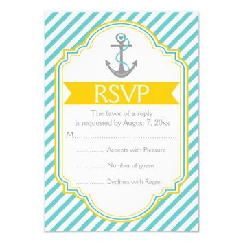 Anchor aqua, yellow nautical wedding RSVP Personalized Invites from Zazzle.com