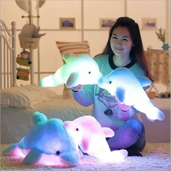 Super Cool!Colorful LED Glowing Animal Dolphin Stuffed Doll Plush Toy Can Connect Phone And PC To Play Music Kids Gifts