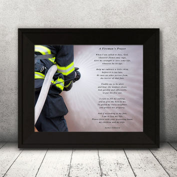 Firemans Prayer, Firefighter Prayer Print, Firefighter wall art, Prayer Print, Inspirational words wall décor, firefighter wall décor gift