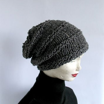 Knitted Slouchy Hat Gray Grey Unisex Mens Womens Spring Summer Beanie Crochet Ribbed Cap