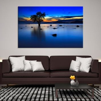 58654 - A Lonely Tree on the Beach Wall Art Large Canvas Print