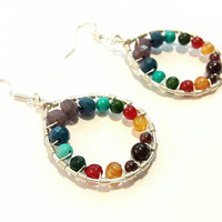 Chakra Earrings with Rainbow Gemstones and Crystals on Silver Dangles, Yoga Hoop Earrings