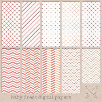 baby themed red cream and pink digital papers. Great for backgrounds or digital scrapbooking. includes, chevrons, stripes and polkadots.