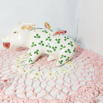 Vintage Ceramic Pig Small Soup Or Applesauce Tureen  / Gravy Bowl Hand Painted Green Clover Artist Signed F.B.C   Italy