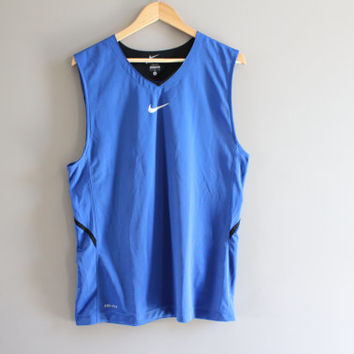 US Free Shipping Nike Tank Top Blue Jersey Sleeveless V-neck Activewear 90s Size L #T122A