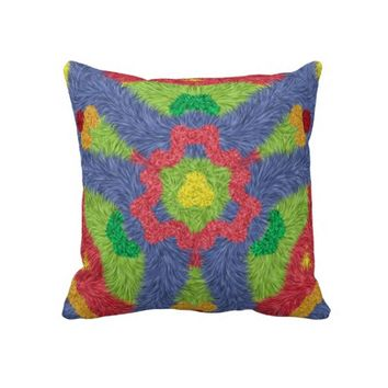 Colorful furry pattern pillow
