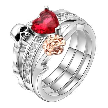 Gothic Skull Finger Silver female wedding rings set For Women Girl Red Heart Crystal CZ Rose Flower Trendy Jewelry Gift rings