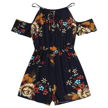 Kenancy Women Cold Shoulder Floral Rompers Spaghetti Strap Bowknot Flower Print Playsuits  Summer Jumpsuits Female Overalls