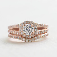 Solitaire Engagement Ring Set - Set Rings - Micro Pave Ring - Rose Gold Ring Set - Rose Gold Band - Birthday Gift - Silver Ring Set - A2