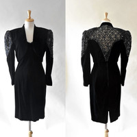 80s Black Velvet and Lace Glam Dress and Jacket