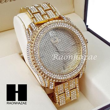 Men's Hip Hop Iced Out 14K Gold PT Bling Lab Diamond Techno King Rapper Watch L5