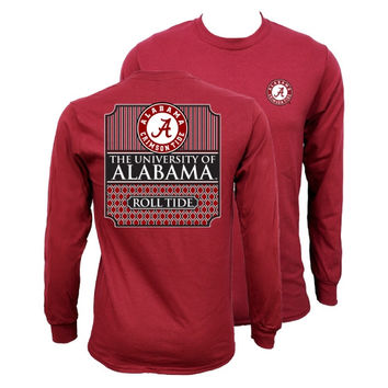 Southern Couture Alabama Crimson Tide Classic Preppy University Long Sleeve T Shirt