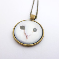 White barn owl - Labryinth - Geeky - Bezel Pendant Necklace Jewelry - Bronze - Chain - Geekery - gift for her gift for him