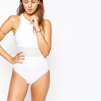 South Beach Maisie White Mesh Swimsuit