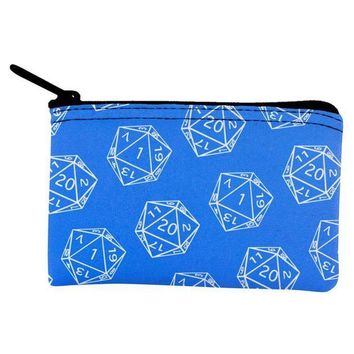 PEAPGQ9 D20 Gamer Critical Hit and Fumble Blue Pattern Dice Pouch