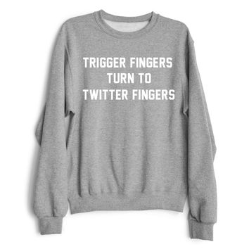 TRIGGER FINGERS TURN TO TWITTER FINGERS Women's Casual Black Gray & White Drake & Meek Mill Beef Crewneck Sweatshirt