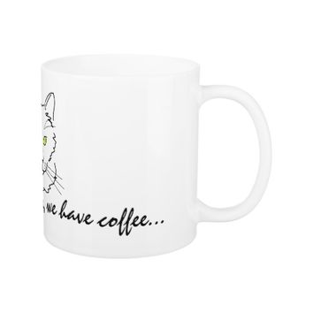 Funny White Cat Coffee Mug