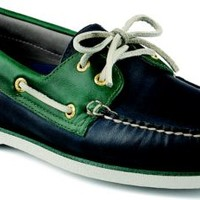 Sperry Top-Sider Gold Cup Authentic Original 2-Eye Boat Shoe Blue/Green, Size 13W  Men's Shoes