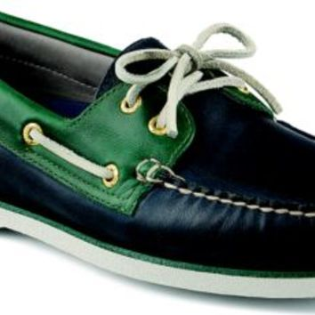 Sperry Top-Sider Gold Cup Authentic Original 2-Eye Boat Shoe Blue/Green, Size 11W  Men's Shoes