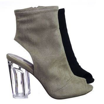 Percy Clear Lucite Transparent Block High Heel Bootie, Peep Toe Open Heel