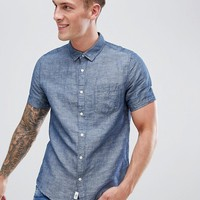 Burton Menswear Regular Fit Linen Shirt In Navy at asos.com