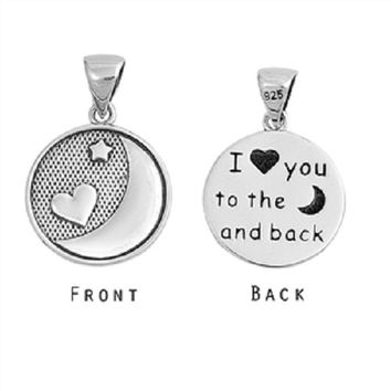 925 Sterling Silver I love you to the moon and back Pendant Jewelry