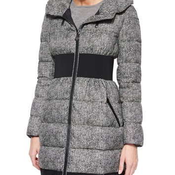 Puivert Belted Puffer Coat, Black, Size: