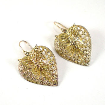 14 K Gold Filled Filigree Heart Butterfly 3D Earrings