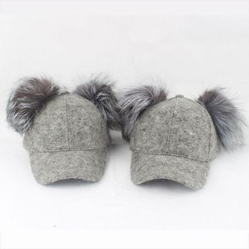 LMFCI7 Real Silver Fox Fur Pompom Hat For Kids Women Cartoon Two Pom Poms Baseball Caps Brand Snapback Hip hop Hat Cap