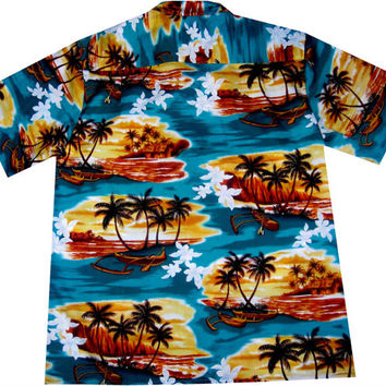 "hawaiian shirt ""Sunrise in Paradise"" 100% cotton, size M - 3XL"