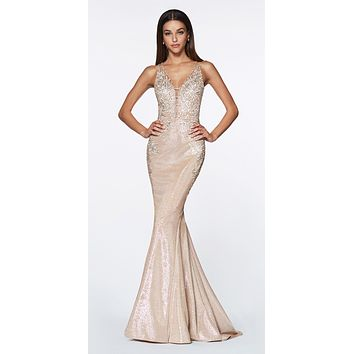 Fitted Metallic Mermaid Gown Champagne Beaded Lace Deep Neckline