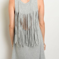 The Briley Back Fringe Tank Dress