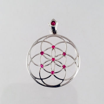 Sacred Geometry, Sterling Silver Seed of Life Pendant with Rubies and Custom Ruby Bail