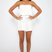 Sailing Strapless Crepe Playsuit - White