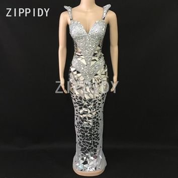 Sparkly Silver Rhinestones Sequins Mesh Long Dress Women Birthday Celebrate Outfit Nightclub Female Singer Sexy Stage Dress