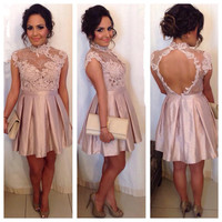 Homecoming Dress, High Neck Cocktail Dresses Lace Appliques Pink Short Prom Dress