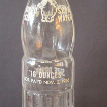 """HIPPO SIZE Soda Water """"A Real Texas Size Drink"""" Vintage Collectible Soda Bottle - 16 oz."""